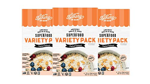 Bakery On Main, Gluten-Free Instant Oatmeal, Vegan & Non GMO - Variety Pack, 10.5oz (Pack of 3)
