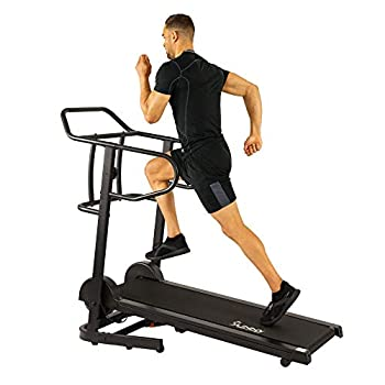 Sunny Health & Fitness Force Fitmill Manual Treadmill with 16 Levels of Magnetic Resistance 300 LB Max Weight and Dual Flywheels - SF-T7723 Black