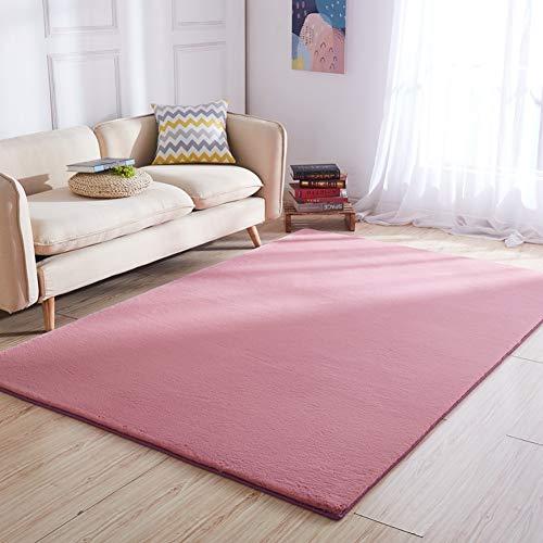 TCpick Algodón Lana Alfombra,Alfombra Shaggy Alfombra Shaggy Anti-resbalón Yoga Alfombras para La Sala De Estar Dormitorio Sofá Alfombra-Rosa Oscuro 120x160cm(47x63inch)
