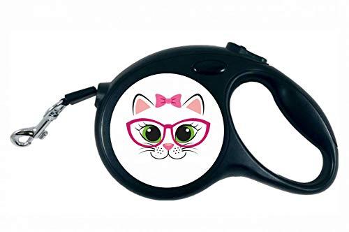 Druckerlebnis24 Rollleine - Katze Schleife Brille Karikatur - 5M Hundeleine Nylon Ergonomischem rutschfest-Griff Einziehbar