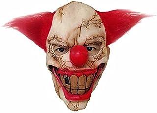 Horror Masks Horror Red Nose Hair Joker Mask Scary Demon Devil Clown Big Mouth Half Face Latex Masks Halloween Party Costu...
