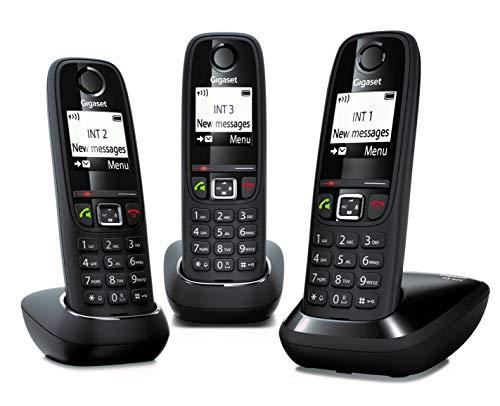 Gigaset AS405 Trio - Teléfono Inalámbrico, Pack 3 Unidades, Manos Libres, 100 Contactos, Pantalla gráfica iluminada 1.8 , Letra tamaño grande, Color Negro