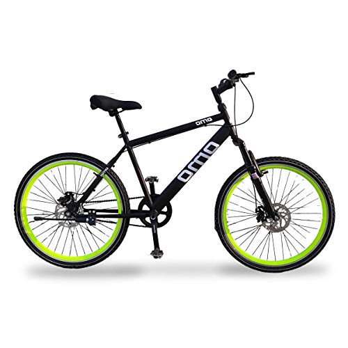Omobikes Manali G1 Unisex Adult's 26T Single Speed Dual Disc Brakes Front Suspension 18'' Frame Carbon Steel Mountain Bicycle (Green)