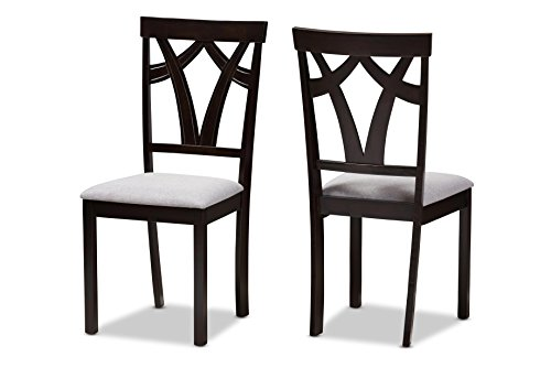 Baxton Studio Violette Modern and Contemporary Grey Fabric Upholstered and Dark Brown Finished Dining Chair