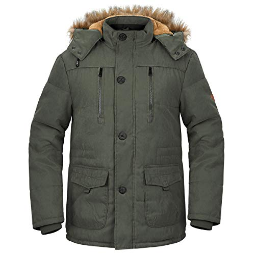 NAVEKULL Men's Winter Warm Jacket Thick Sherpa Lined Cotton Military Parka Coat with Removable Faux Fur Hood Army Green