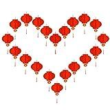 20 farolillos chinos de papel rojo de 25,4 cm, felices para colgar farolillos de papel rojo, características del Año Nuevo chino