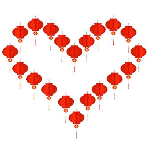 AERVEAL Linterna, 20 linternas de Papel Rojo Chino, linternas de Papel Rojo Colgantes de la Suerte de 10 Pulgadas, decoración de año Nuevo Chino