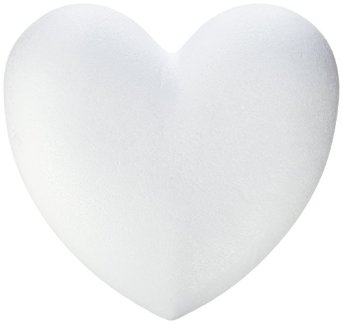 Glorex Styroporherzen, Styropor, Weiß, 14 x 11,5 x 2 cm