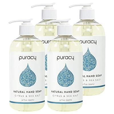 Puracy Hand Wash Gel, Citrus & Sea Salt, Nontoxic, Natural Liquid Hand Soap, 12 Ounce (Pack of 4)