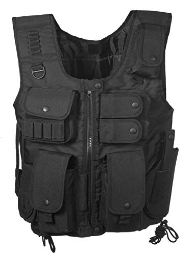 S.W.A.T Style Tactical Vest in Black Crossdraw Holster Mag Pouches Police Army Vest