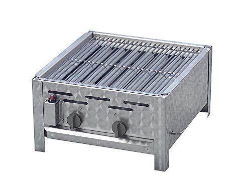 Gasgrill 2-flammig mit 7,3 KW regelbar als Tischgerät aus Edelstahl mit Grillrost Flammabdeckung und Fettauffangwanne Gasschlauch Regler Flüssiggas ideal für Privat Verein Gewerbe in top Qualität