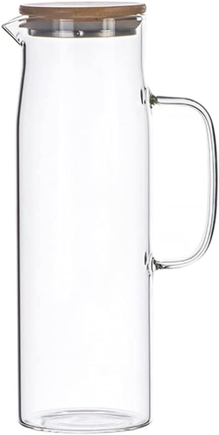 STOBOK 1. 2 Liter Colorado Springs Mall Large New arrival Capacity with Water Carafe Glass Woo Jug