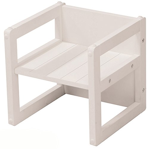 #11 Sitzhocker, Nutzbar als Stuhl oder Tisch, Weiß, 30x30cm Sitzhocker 2in1 Kindertisch Kinderstuhl 3 Sitzhöhen Holztisch Holzstuhl