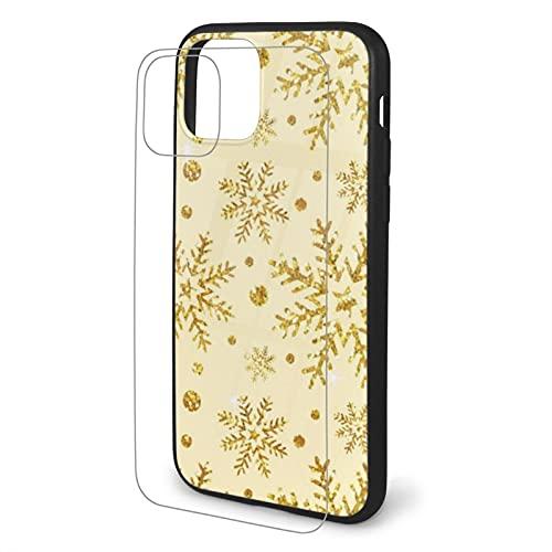 Funda para iPhone 11 con purpurina y diseño de copos de nieve, resistente a los golpes, resistente a los arañazos, cubierta trasera de cristal templado de TPU para iPhone 11 Pro Max
