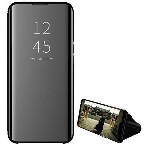 Hülle® Enchapado Flip Espejo Funda para Huawei Nova 5T (Negro)