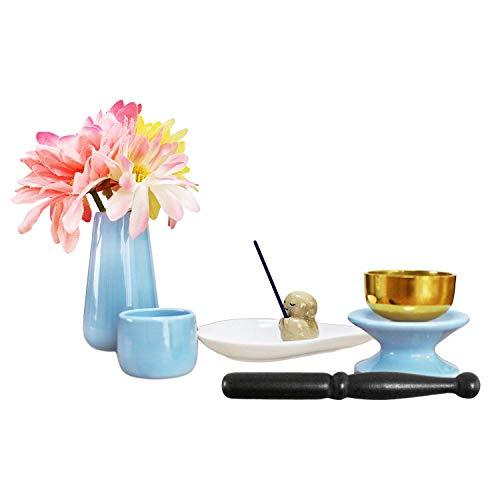 ペット仏具 6点セット ブルー & ホワイト おりん(こりん) 信楽焼 地蔵 お線香立て ハート型お香皿つき