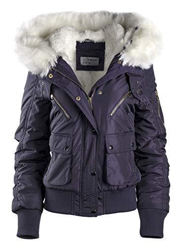 Damen Winterjacke KURZ Mantel Pilotenjacke Army Style XXL Fell Kapuze WARM, Farbe:Dunkelblau, Größe:XL