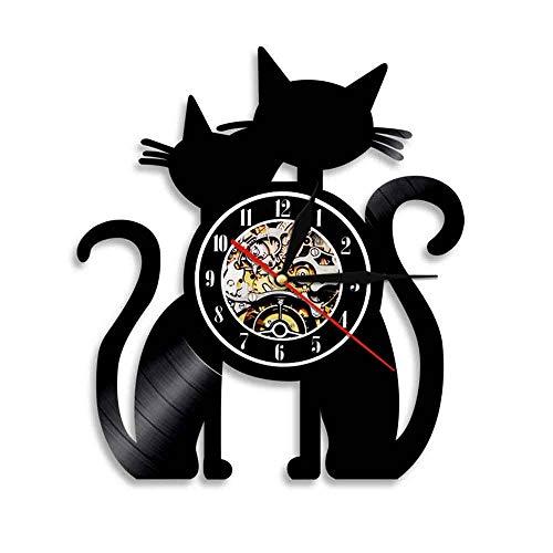 Reloj de pared para gato, para marido y mujer, para mascotas, para cocina, con animales, disco de vinilo, decoración del hogar, para colgar, aguja de cuarzo silenciosa con luz LED, 12 pulgadas (30 cm)