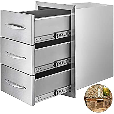 Mophorn Outdoor Kitchen Drawers Stainless Steel 15.7x21.6 Inch Triple Drawers with Chrome Handle BBQ Drawers for Outdoor Kitchens BBQ Island