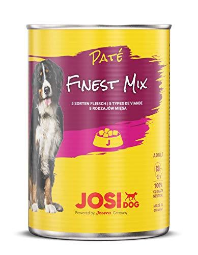 JosiDog Paté Finest Mix (12 x 400 g) | Hundefutter Fleisch - Gaumentraum | Pastete mit 5 Sorten für ausgewachsene Hunde | Hundefutter | powered by JOSERA