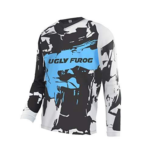 Uglyfrog Winter MX Jersey Langarm Thermal Vlies Funktions Shirt Für Moto Cross BMX Mountain Bike Offroad FR Jersey Trikot lang RACEWEAR Radtrikot Plüsch nach innen DHRL01