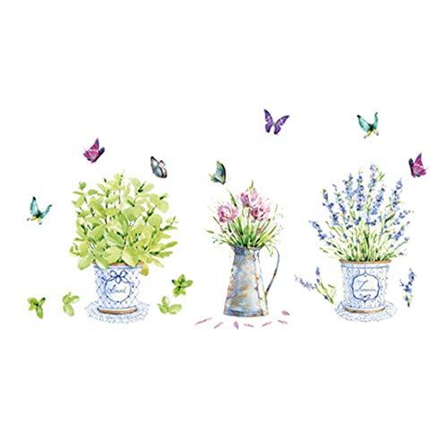 iTemer 1 set pegatinas pared decorativas Decoracion pared Vinilos decorativos pared dormitorio Stickers Verde Flores Plantas en macetas 60cm*90cm