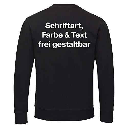 Sweatshirt Druck hinten (Anpassung von Text, Schriftart und Schriftfarbe) - Größe S bis 3XL - Bedrucken Wunschtext Shirt, Größe:XL