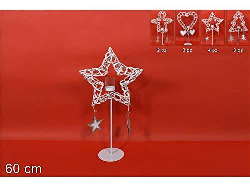 DUE ESSE CHRISTMAS S.r.l. Portacandela con Pendenti Legno 60 cm Bianco