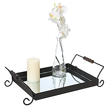 Black Metal Mirrored Decorative Display Tray with Wood Dowel Handles, Cocktail Serving Platter