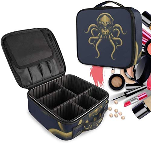 Cosmétique HZYDD Bleu foncé Octopus Make Up Bag Trousse de Toilette Zipper Sacs de Maquillage Organisateur Poche for Compartiment Femmes Filles Gratuit