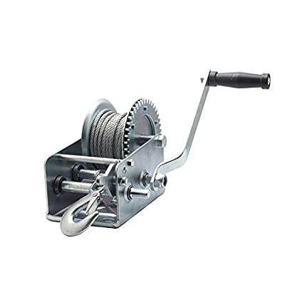 2500lbs Dual Gear Hand Winch with 33ft Cable, Heavy Duty Hand Crank Manual for Boat ATV RV Trailer, Silver