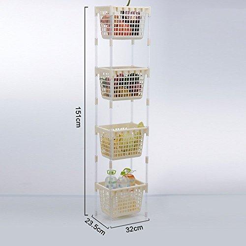 GRY Gemüsekorb Gemüse Regal Regal Multi Storey Küche Lagerung,Zwei,Elfenbeinweiß