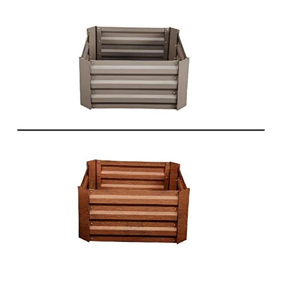 Leisurelife Metal Raised Garden Bed Planter Box Kits for Vegetables Outdoor, Steel, 2x2 ft, Brown 1 【Raised Garden Bed Size】:8x4 ft, height 1ft. No bottom 【Material】: The planter box made of color steel, waterproof and anti-rust, can be used for 10 years. 【Open-bottom】: Integrating with nature, there is no trouble with standing water.