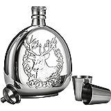 Jtoony Petaca Gruesa de Acero Inoxidable 304 Exteriores, portátil, Botella de 500 ml, Botella portátil de Bolsillo para Whisky, Acero Inoxidable, Plateado, 501-600ml