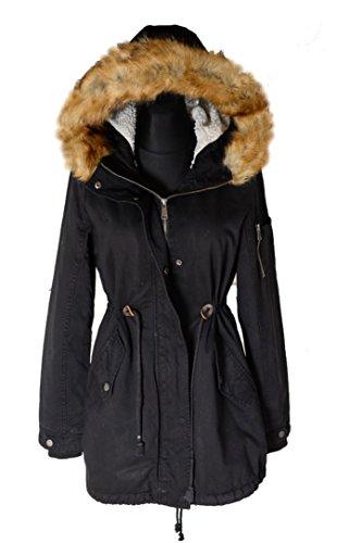 Italy Donna dames bont kraag capuchon winter jas parka mantel warm gevoerd 36 38 40 42 S M L zwart anorak legergroen militair