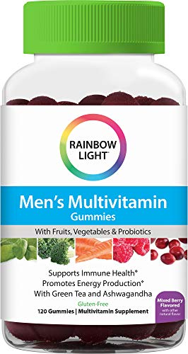 Rainbow Light Men's Gummy Multivitamin, Supports Immune Health And Promotes Energy Production With Vitamins B, C and D, Raspberry Blackberry Flavor, 120 Gummies