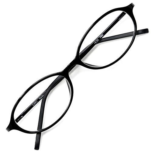 アイウェアエア 老眼鏡 おしゃれ レディース メンズ ブルーライトカット +0.5〜+3.5 4色 オーバル ピアノブラック +1.00