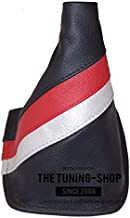 The Tuning-Shop Ltd For Toyota Celica 1999-05 Gear Gaiter Black Italian Leather Trd Style Stripes
