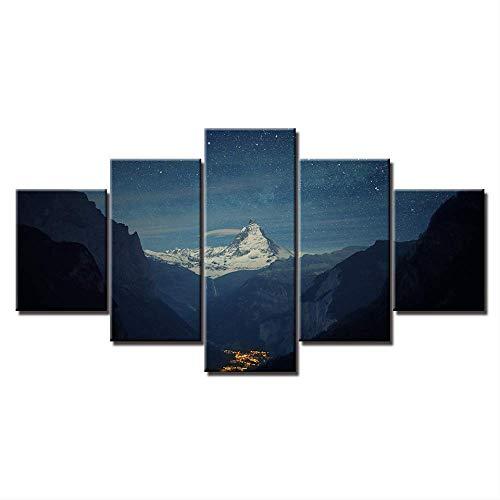 Toile Peinture HD Matterhorn Valley Station Paysage 5 Pièce Modulaire Nature Mur Art Photos pour Salon Décor À La Maison Taille 2 avec Cadre