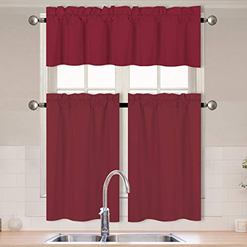 Better Home Style 3 Piece Solid Color 100% Blackout Kitchen Window Curtain Set with Tiers and Valance Solid Energy Efficient Thermal Room Darkening Drape Window Treatment # MKC (Burgundy)
