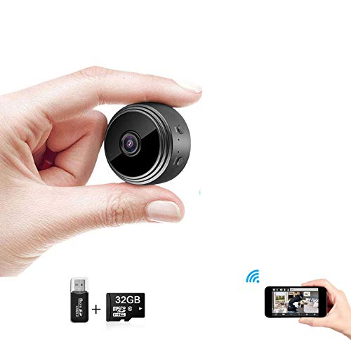 Hidden Camera WiFi Mini Camera,HD 1080P Mini Wireless Nanny Cam-Magnetic Camera-Security Camera for Home Built-in Battery with Motion Detection/Night Vision for iPhone/Android Phone/iPad/PC