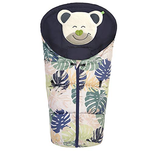 Odenwälder BabyNest Fußsäckchen Mucki fashion | 11444-1543 | passend für Schalensitze der Gruppe 0, Softragetaschen und Hartschalen | tropical leaves powder-green