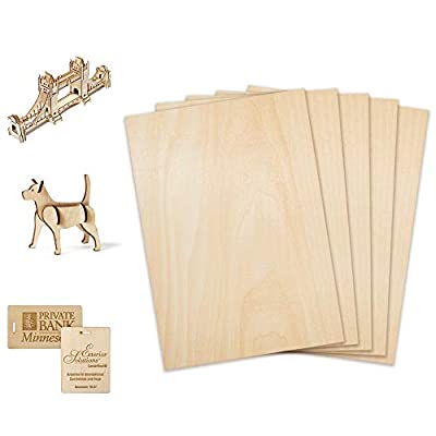CRAFTIFF Plywood Board Basswood Sheets 1/16 inch, Thin Natural Unfinished Wood for Crafts, Hobby and Model Making – 1.5mm Pack (6pcs (300x200mm) (300x300x1.5)