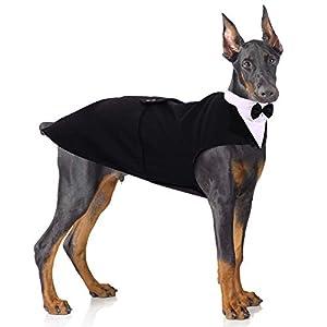 Formal Tuxedo for Medium Large Dogs, Wedding Pet Dog Bow Tie Suit Dress, Gentleman Dog Attire with Bowtie, Husky Beagle Samoyed Hound Party Costume Bandana Shirt, 2 Pcs Set, Can be Worn Separately