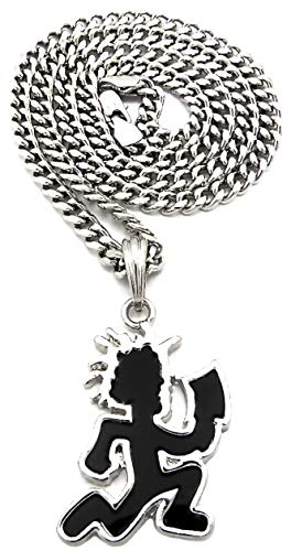 GWOOD Juggalo with Cleaver Silver Color and Black Enamel Pendant on 24 Inch Cuban Necklace