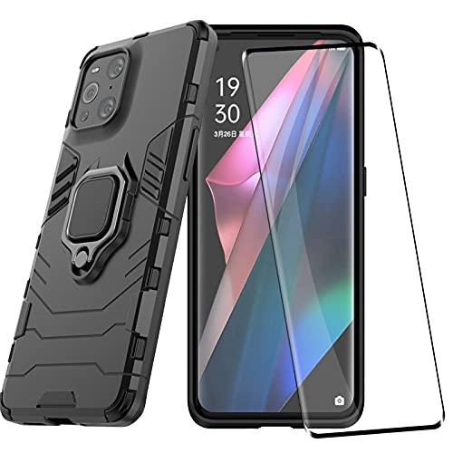 YundEU Hülle für Oppo Find X3 Pro 5G Handyhülle mit Curved Panzerglas, Hybrid Rüstung Defender Heavy Duty Hard Bumper Silikon Handyhülle Schutzhülle Hülle Tasche mit Kickstand, Schwarz