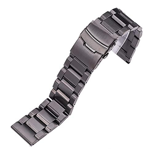 SSXPNJALQ Correa de Acero Inoxidable 18 mm 20 mm 22 mm 24 mm Metal Reloj de Metal Enlace Pulsera Reloj de Reloj Black Silver Rose Gold (Band Color : Black, Band Width : 20mm)