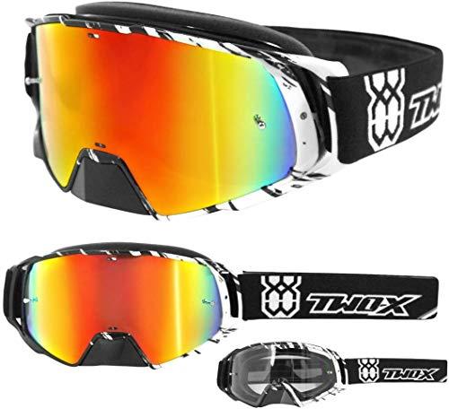 TWO-X Rocket–Gafas de motocross o enduro, vidrio crush, cristal iridio con efecto espejo, gafas MX con protección para nariz, antiarañazos