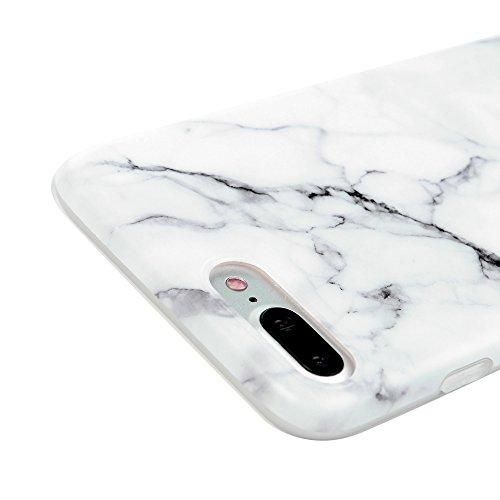 Badalink Hülle für iPhone 7 Plus Marmor TPU Case [3 Packs] Cover Ultraslim Handyhülle Schutzhülle Silikon Bumper Schutz Tasche Matt Marble Schale Antikratz Backcover mit IMD Technologie in Grau Weiß