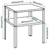 MSAMALL Mesita de noche KNARREVIK, negro, 37x28 cm, duradera y fácil de cuidar. Mesa auxiliar. Mesas de café y mesitas auxiliares, mesas y escritorios. Muebles, respetuoso con el medio ambiente